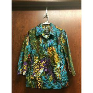 Chicos Additions Blue Jacket Size 1 Yellow Floral